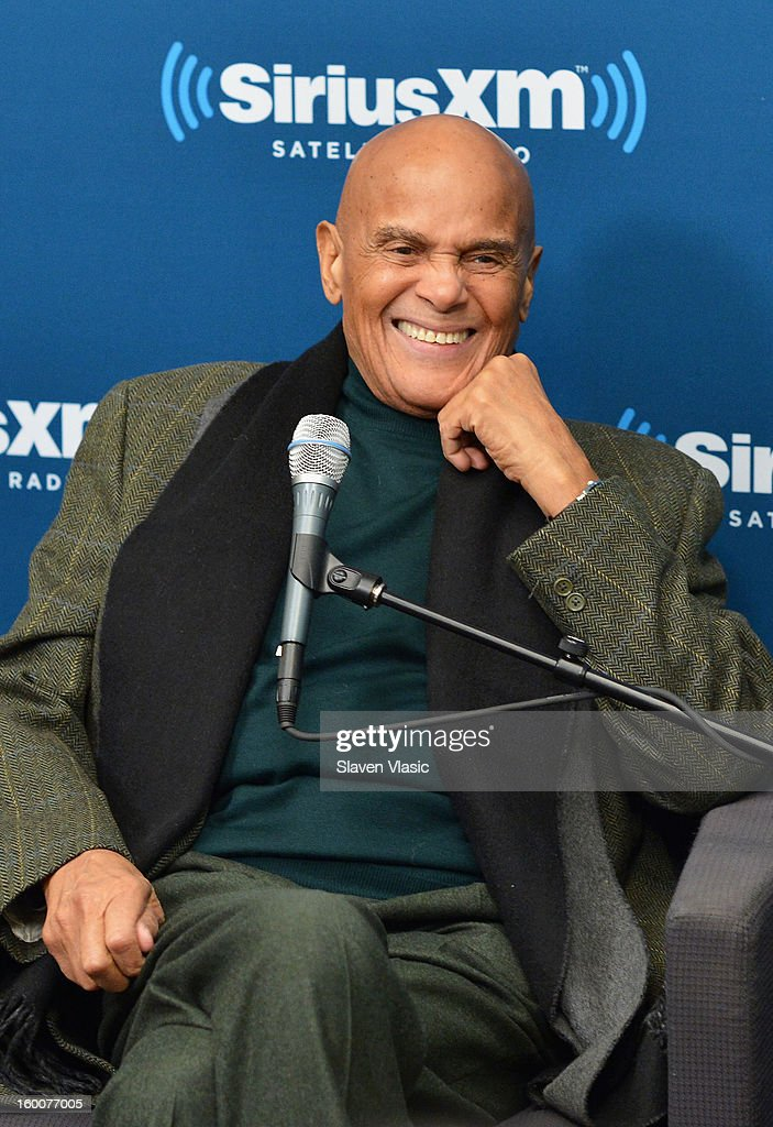 Actor/singer/activist Harry Belafonte is interviewed by SiriusXM host Joe Madison at SiriusXM studios on January 25, 2013 in New York City.