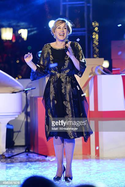 Actor/singer/author Molly Ringwald performs at the Beverly Hills Holiday Lighting Ceremony on Rodeo Drive on November 22 2015 in Beverly Hills...