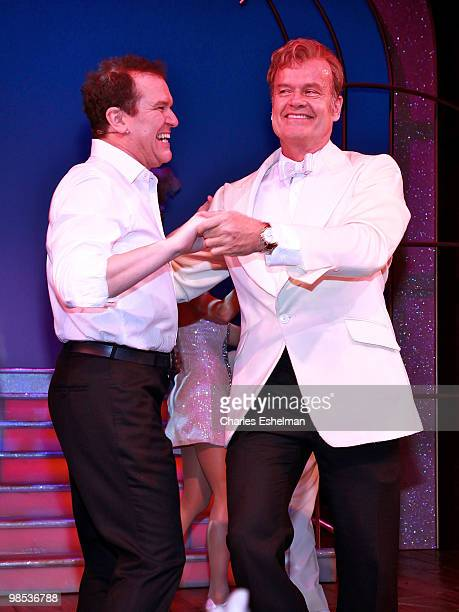 Actor/singers Douglas Hodges and Kelsey Grammer perform in the opening of La Cage Aux Folles on Broadway at the Longacre Theatre on April 18 2010 in...