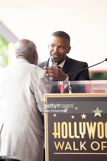 Actor/singersongwriter Jamie Foxx speaks onstage at a ceremony honoring Music Executive Clarence Avant with a star on the Hollywood Walk of Fameon...