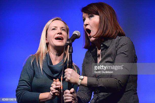Actors/musicians Angela Kinsey and Kate Flannery of the TV show The Office perform onstage during Creed Bratton's benefit concert for Lide Haiti at...