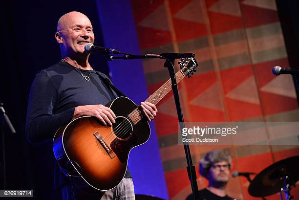 Actors/musicians Creed Bratton and Rainn Wilson from the TV show The Office perform onstage during Creed Bratton's benefit concert for Lide Haiti at...