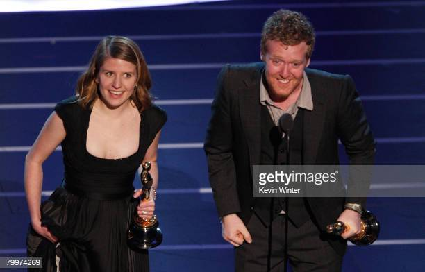 TELECAST*** Actors/musicians Glen Hansard and Marketa Irglova receive the award for Best Song for their performance in Once during the 80th Annual...