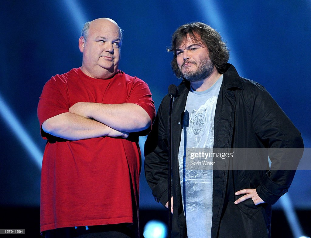 Actors/musicians Kyle Gass (L) and Jack Black (R) of Tenacious D onstage during Spike TV's 10th annual Video Game Awards at Sony Studios on December 7, 2012 in Culver City, California.