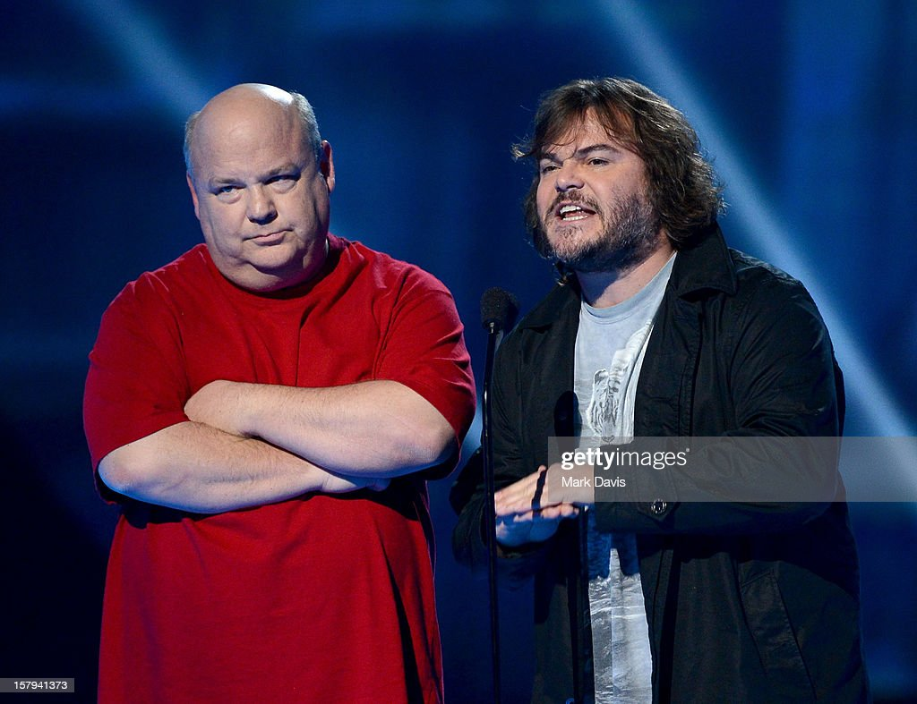 Actors/musicians Kyle Gass (L) and Jack Black (R) of Tenacious D speak onstage during Spike TV's 10th annual Video Game Awards at Sony Studios on December 7, 2012 in Culver City, California.