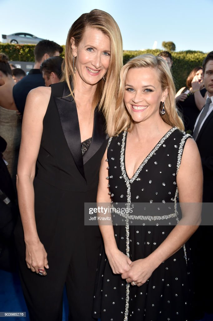 Actors/producers Laura Dern (L) and Reese Witherspoon attend The 23rd Annual Critics' Choice Awards at Barker Hangar on January 11, 2018 in Santa Monica, California.