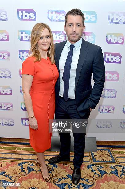 Actors/producers Samantha Bee and Jason Jones attend the 2016 TCA Turner Winter Press Tour Presentation at the Langham Hotel on January 7 2016 in...