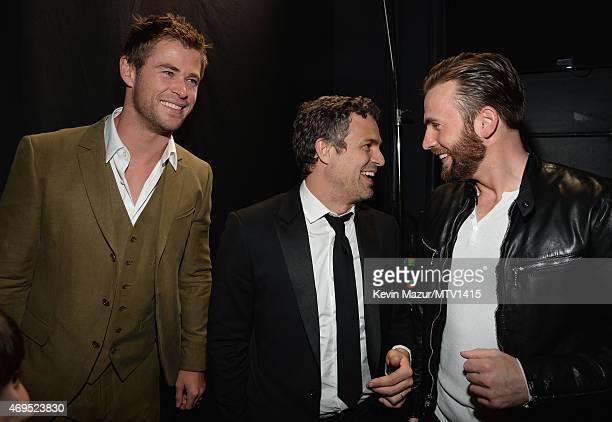 Actorss Chris Hemsworth Mark Ruffalo Chris Evans and Bella Noche Ruffalo attend The 2015 MTV Movie Awards at Nokia Theatre LA Live on April 12 2015...