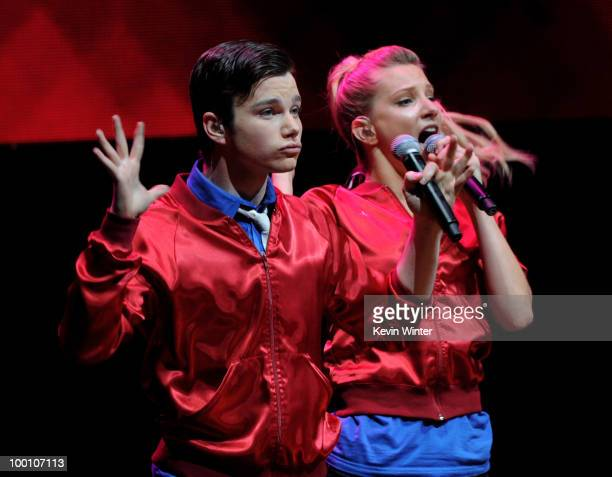 Actors/singers Chris Colfer and Heather Morris of Fox TV's 'Glee' perform at The Gibson Amphitheater on May 20 2010 in Universal City California