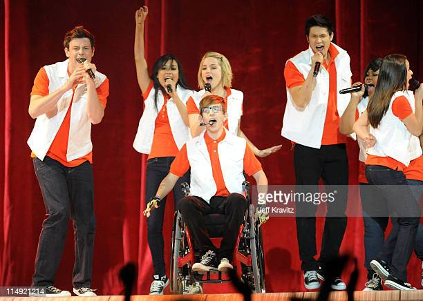 """Actors/singers Cory Monteith, Naya Rivera, Kevin McHale, Dianna Agron, Harry Shum Jr., Amber Riley and Lea Michele perform onstage at 2011 """"GLEE..."""