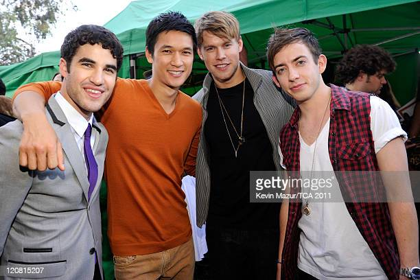 Actors/singers Darren Criss, Harry Shum Jr., Chord Overstreet and Kevin McHale attend the 2011 Teen Choice Awards at Gibson Universal Amphitheatre on...