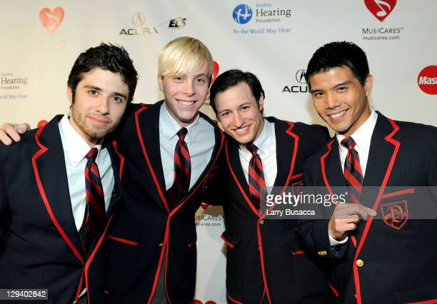 Actors/singers Eddy Martin, Riker Lynch, Curt Mega and Telly Leung arrive at 2011 MusiCares Person of the Year Tribute to Barbra Streisand at Los...