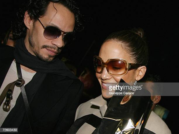Actors/singers Jennifer Lopez and husband Marc Anthony arrive at Ciampino Airport to leave Rome following the wedding of Katie Holmes and Tom Cruise...