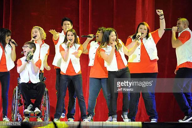 Actors/singers Naya Rivera, Kevin McHale, Dianna Agron, Harry Shum Jr., Lea Michele, Amber Riley, Jenna Ushkowitz, Ashley Fink and Mark Salling...