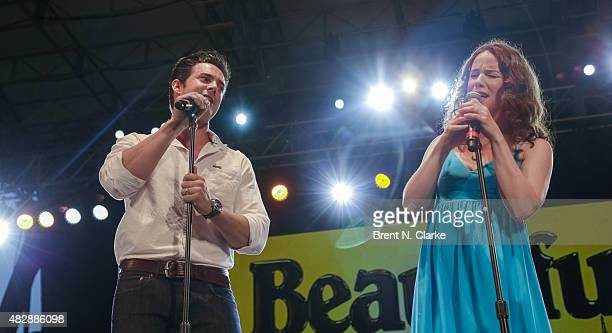 Actors/singers Scott J Campbell and Chilina Kennedy perform live at SummerStage Presents Beautiful Carole King Musical Songs in Concert at Rumsey...