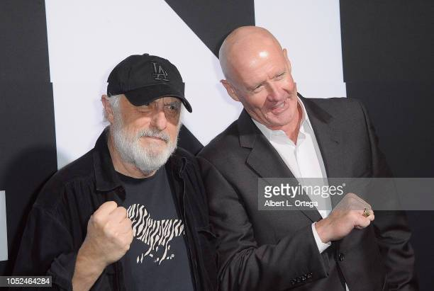 Actors/stuntmen Nick Castle and Jim Courtney pose together as the first and latest men to portray Michael Myers aka The Shape at the Universal...