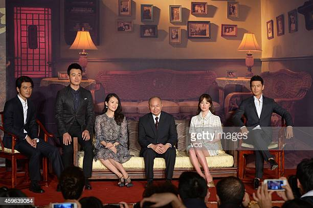 ActorsTakeshi Kaneshiro Tong Dawei Zhang Ziyi director John Woo actress Song Hye Kyo and actor Huang Xiaoming attend press conference for movie 'The...