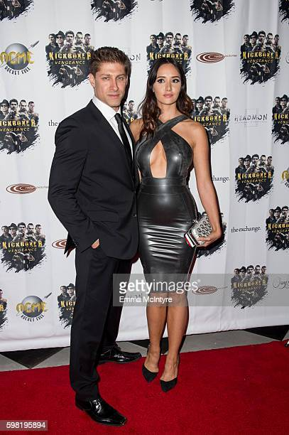 Actor/stuntman Alain Moussi and actress Sara Malakul Lane arrives at the premiere of RLJ Entertainment's 'Kickboxer Vengeance' at iPic Theaters on...