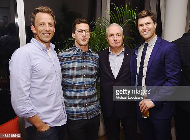 Actors/TV personalities Seth Meyers and Andy Samberg SNL creator Lorne Michaels and film writer/actor Colin Jost attend the after party for the New...