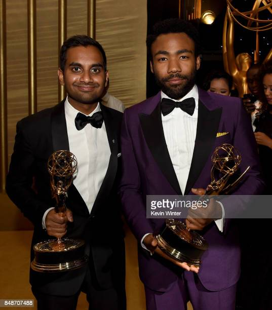 Actors/writers Aziz Ansari , winner of Outstanding Writing for a Comedy Series for 'Master of None,' and Donald Glover, winner of Outstanding Lead...