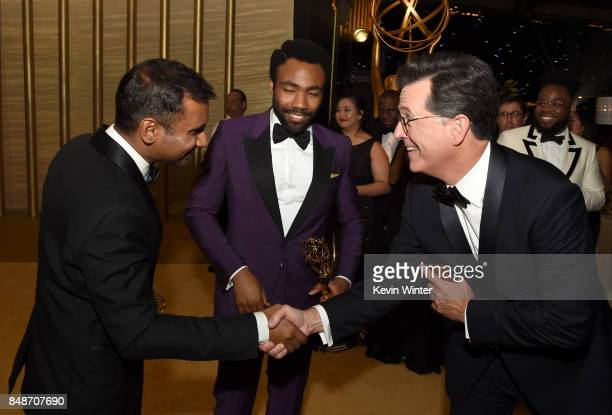 Actors/writers Aziz Ansari, winner of Outstanding Writing for a Comedy Series for 'Master of None,' and Donald Glover, winner of Outstanding Lead...