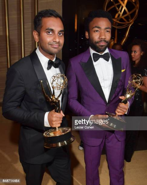 Actors/writers Aziz Ansari winner of Outstanding Writing for a Comedy Series for 'Master of None' and Donald Glover winner of Outstanding Lead Actor...
