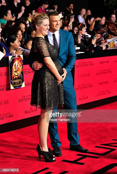 Actort Alan Ritchson and Catherine Ritchson attends the premiere of Lionsgate's 'The Hunger Games Cathching Fire' at Nokia Theatre LA Live on...