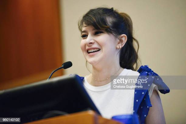 Actor/Teen Line alum Kathrine Herzer speaks at Teen Line 2018 Food For Thought Brunch hosted by Rachel Bloom at UCLA Carnesale Commons on April 22...