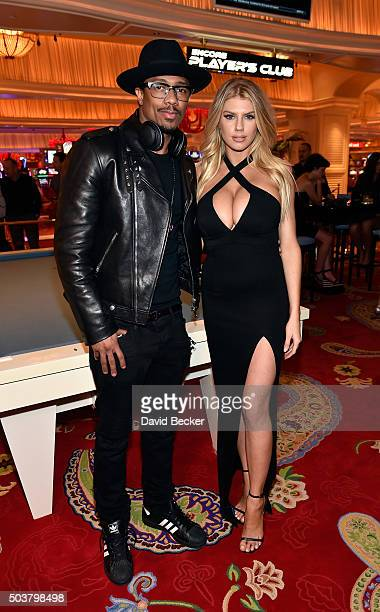 Actor/television personality Nick Cannon and model Charlotte McKinney attend the Encore Player's Club grand opening celebration at Wynn Las Vegas on...