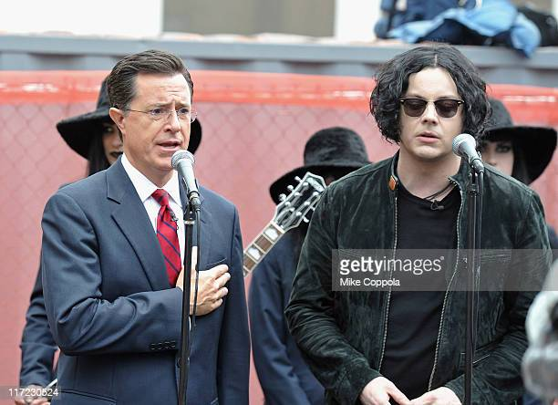Actor/television personality Stephen Colbert and musician Jack White promote 'Stephen Colbert with the Black Belles' at the Third Man Records Rolling...