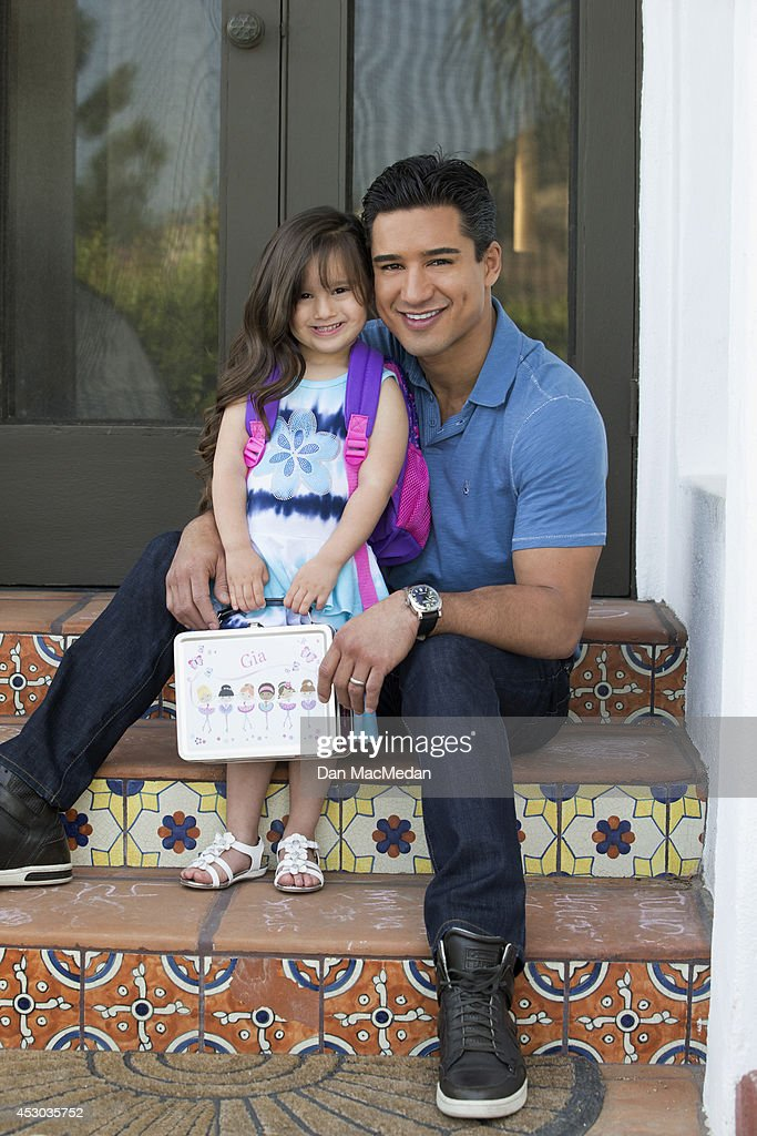Actor/TV host, Mario Lopez and his daughter Gia photographed at their home for USA Today's Back To School Magazine on July 15, 2014 in Glendale, California. COVER
