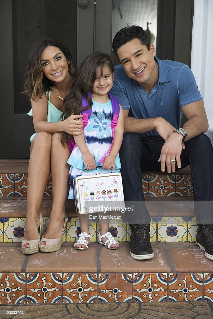 Actor/TV host, Mario Lopez, his wife Courtney and daughter Gia are photographed for USA Today's Back To School Magazine on July 15, 2014 in Glendale, California.