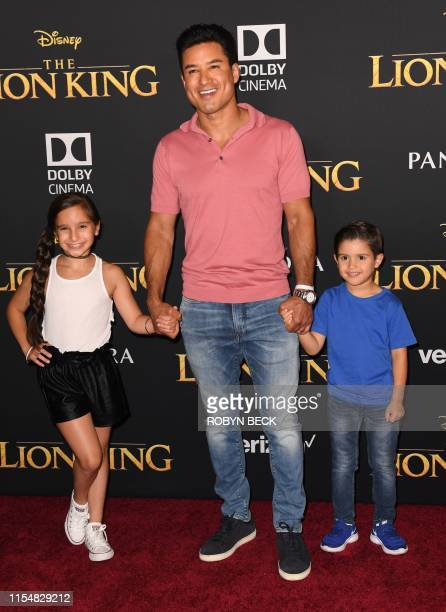 """Actor/TV host Mario Lopez with his daughter Gia Lopez and son Dominic Lopez arrive for the world premiere of Disney's """"The Lion King"""" at the Dolby..."""