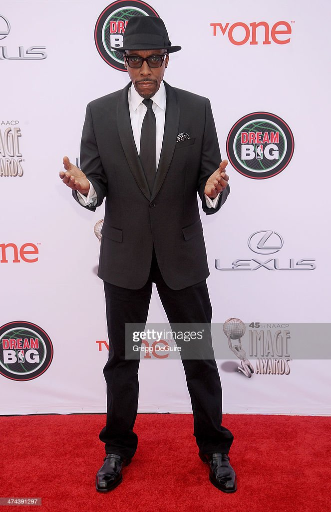 Actor/TV personality Arsenio Hall arrives at the 45th NAACP Image Awards at Pasadena Civic Auditorium on February 22, 2014 in Pasadena, California.