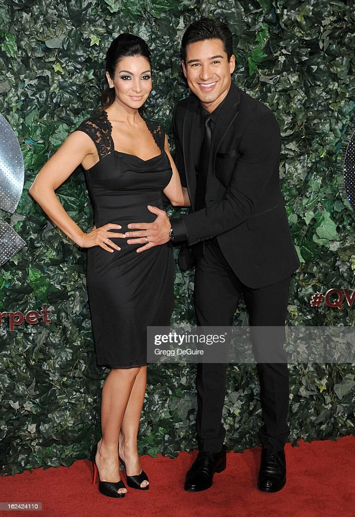 Actor/TV personality Mario Lopez and wife Courtney Mazza arrive at the QVC 'Red Carpet Style' party at Four Seasons Hotel Los Angeles at Beverly Hills on February 22, 2013 in Beverly Hills, California.
