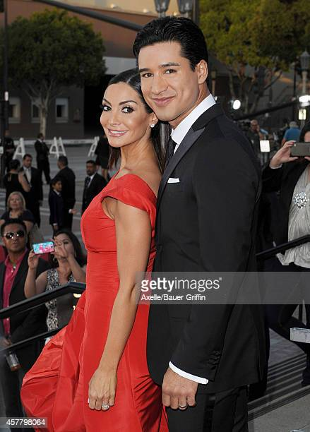 Actor/TV personality Mario Lopez and wife Courtney Mazza arrive at the 2014 NCLR ALMA Awards at Pasadena Civic Auditorium on October 10 2014 in...