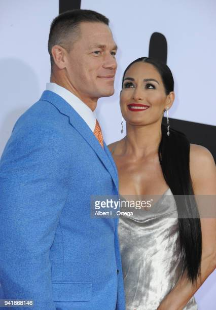 Actor/wrestler John Cena and wrestler Nikki Bella arrive for the Premiere Of Universal Pictures' Blockers held at Regency Village Theatre on April 3...