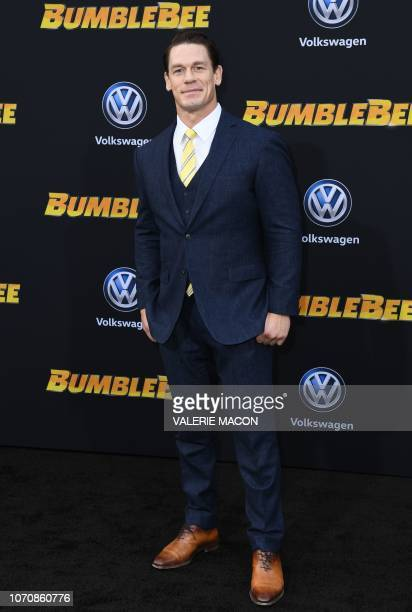 """Actor/wrestler John Cena attends the global premiere of """"Bumblebee"""" at the TCL Chinese theatre in Hollywood on December 9, 2018."""