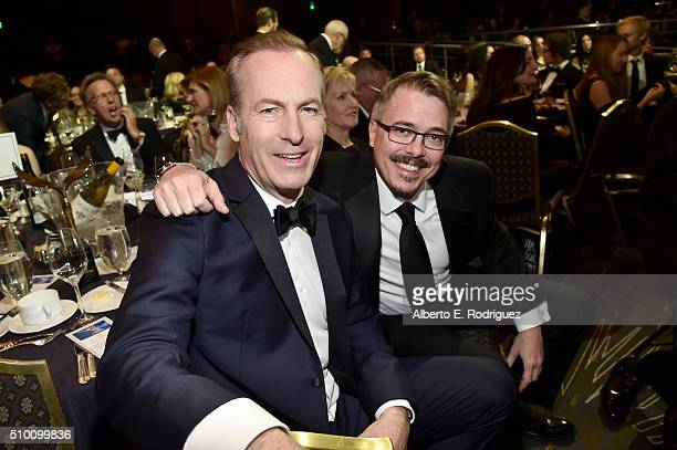 Actor/writer Bob Odenkirk and writer Vince Gilligan attend the 2016 Writers Guild Awards at the Hyatt Regency Century Plaza on February 13, 2016 in...