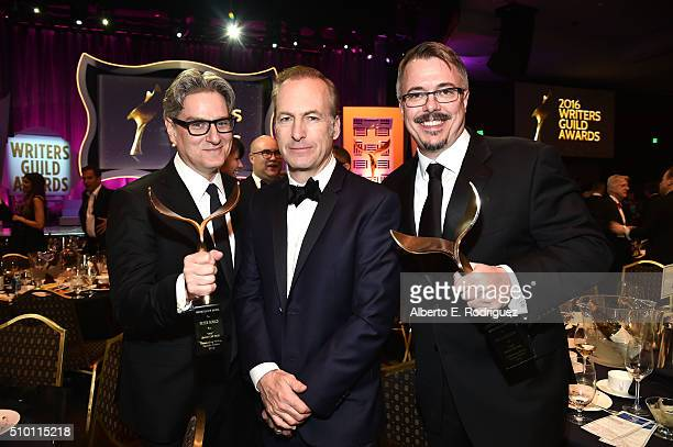 Actor/writer Bob Odenkirk poses with writers Peter Gould and Vince Gilligan the winners of the Episodic Drama award for 'Better Call Saul' during the...