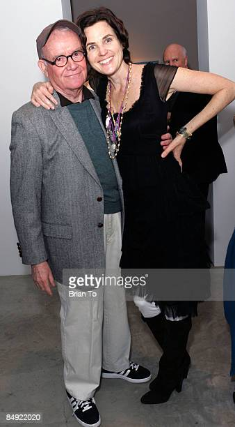 Actor/writer Buck Henry and artist Tierney Gearon pose at Artist Tierney Gearon Hosts Dinner Party for Explosure When Exhibition at ACE Gallery on...