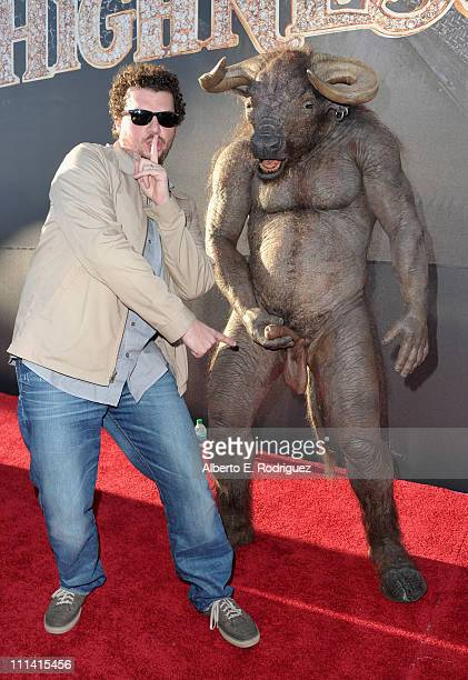 Actor/writer Danny McBride and the Minotaur arrive at the premiere of Universal Pictures' Your Highness at the University of California Santa Barbara...