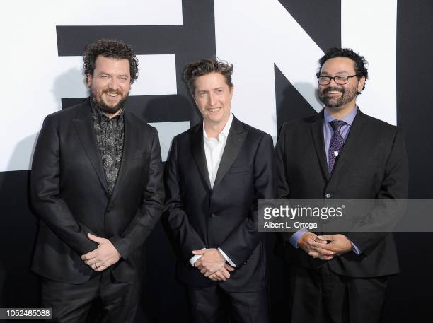 Actor/writer Danny McBride director/writer David Gordon Green and writer Jeff Fradley arrive for the Universal Pictures' 'Halloween' Premiere held at...
