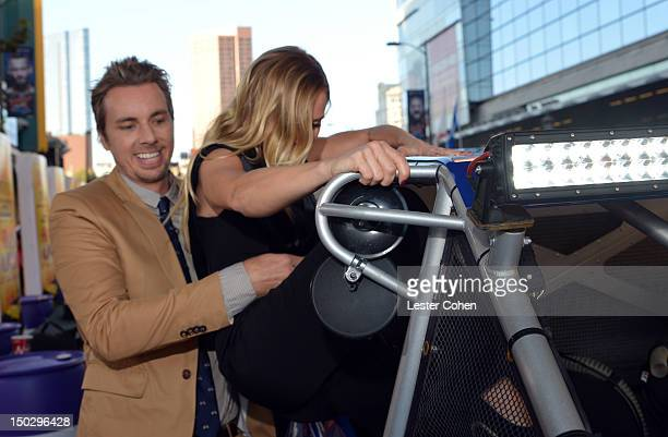 Actor/writer Dax Shepard and actress Kristen Bell arrive at the Los Angeles premiere of Hit Run on August 14 2012 in Los Angeles California