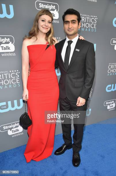 Actorwriter Emily V Gordon and actorwriter Kumail Nanjiani attends The 23rd Annual Critics' Choice Awards at Barker Hangar on January 11 2018 in...