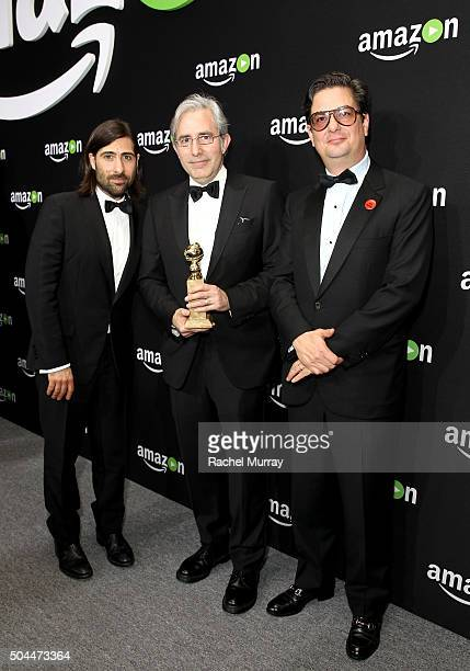 Actor/writer Jason Schwartzman writer/director Paul Weitz and writer/producer Roman Coppola attend Amazon's Golden Globe Awards Celebration at The...