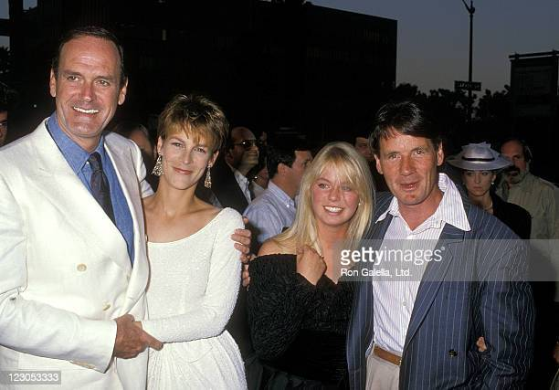 Actor/Writer John Cleese actress Jamie Lee Curtis writer Michael Palin and wife Helen Gibbins attend A Fish Called Wanda Beverly Hills Premiere on...