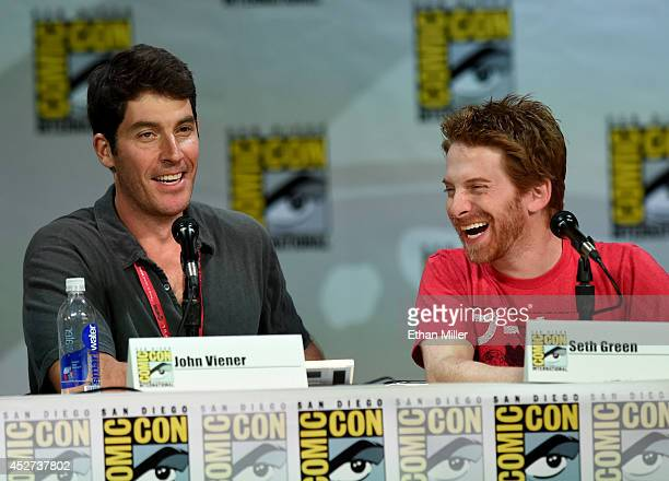 Actor/writer John Viener and actor/producer Seth Green attend FOX's 'Family Guy' panel during ComicCon International 2014 at the San Diego Convention...