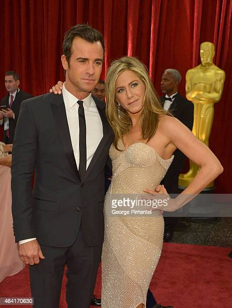 Actor/writer Justin Theroux and actress Jennifer Aniston attend the 87th Annual Academy Awards at Hollywood Highland Center on February 22 2015 in...