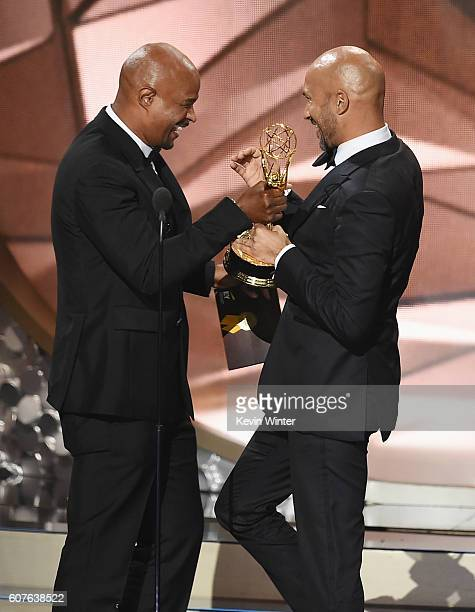 Actor/writer KeeganMichael Key accepts Outstanding Variety Sketch Series for 'Key Peele' from actor Damon Wayans onstage during the 68th Annual...
